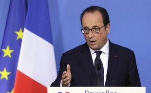 François Hollande s'adresse aux journalistes après un sommet européen à Bruxelles, le 31 août 2014.