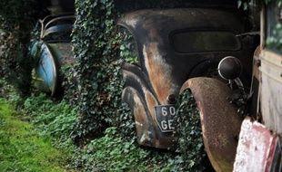 Des voitures de la collection automobile de Roger Baillon dans la propriété Gaillard à Echiré (Deux-Sèvres), le 26 novembre 2014