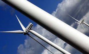 Champ éolien de Caurel, en Bretagne, le 03 avril 2006. EDF n'a pas dévoilé le montant de sa prise de contrôle de la société chinoise UPC Asia Wind Management (AWM)