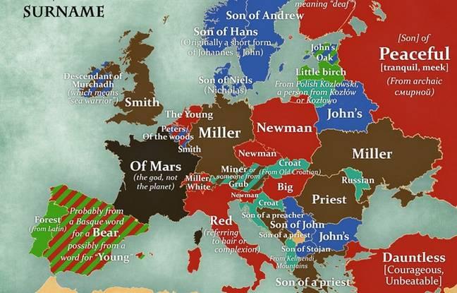 Carte d'Europe des noms de famille les plus communs.