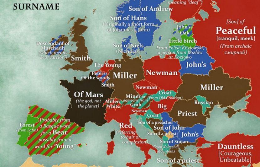 Une Carte Des Noms De Famille Les Plus Repandus En Europe Et Leur Signification