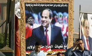 Une affiche de campagne en faveur du président égyptien sortant Abdel Fattah al-Sissi
