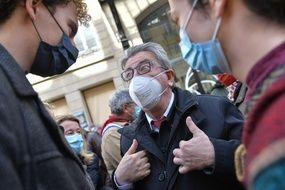 Jean Luc Melenchon LFI avec des manifestants pendant la marche loi climat, le 28 mars 2021 (Illustration)