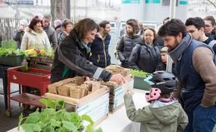 Distribution gratuite de graines de fleurs et de plantes potagères à Paris.