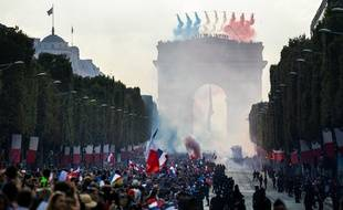 2018 World Cup, French national football team celbrates his victory on the Champs Elysees. Paris, FRANCE-16/07/2018.