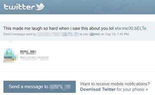 Capture d'écran d'une notification de direct message malveillant sur Twitter.