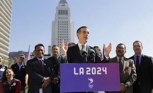 Eric Garcetti, le maire de Los Angeles, lors d'une conférence de presse sur la candidature de la ville à l'organisation des JO 2024, le 25 janvier 2017.