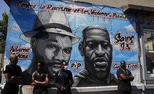 """La fresque """"contre le racisme et les violences policières"""" récemment inaugurée à Stains."""