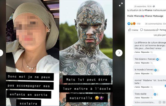 Un post Facebook compare la possibilité de participer à une sortie scolaire lorsqu'on est tatoué ou voilé.