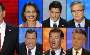 7 potentiels candidats républicains pour 2016: Marco Rubio, Condoleezza Rice, Paul Ryan, Jeb Bush, Chris Christie, Rand Paul et Jon Huntsman.