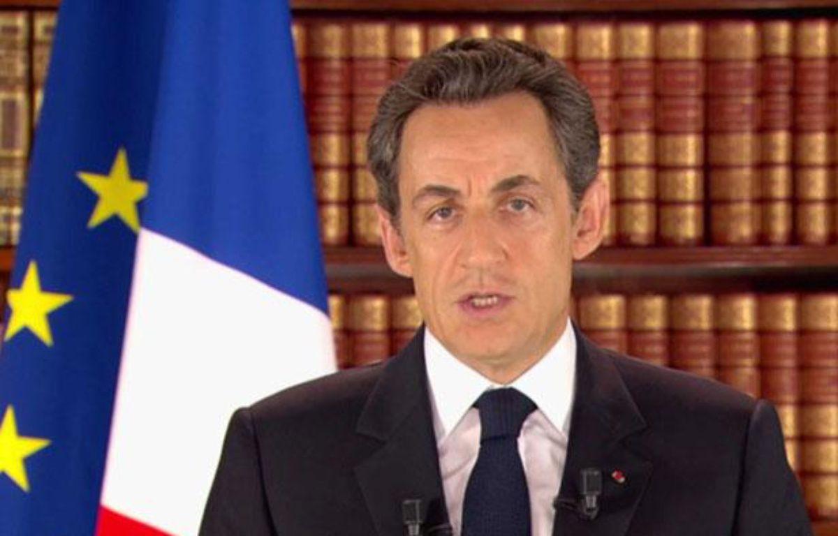 Nicolas Sarkozy lors de son intervention télévisée, le 27 février 2011.  – SIPA