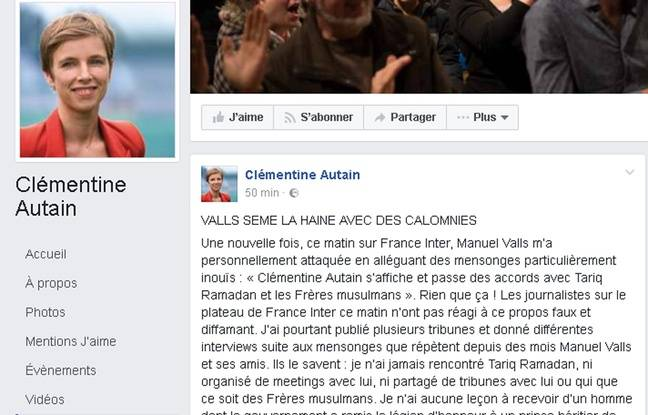 Capture écran Facebook du compte de Clémentine Autain le 15 décembre 2016
