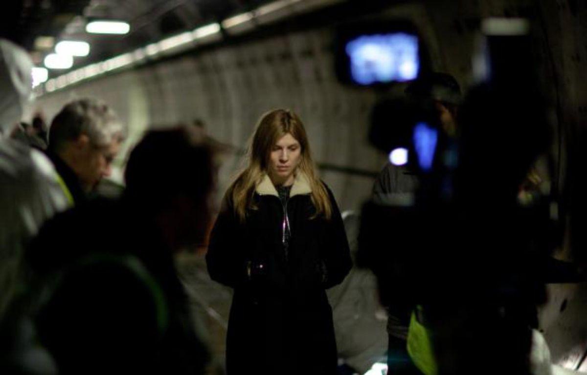 Clémence Poésy sur le tournage du «Tunnel», dans le tunnel sous la Manche. – Sky Production