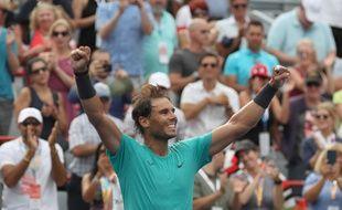 Rafael Nadal célébrant sa victoire aux Masters 1000 de Montréal le 11 août 2019