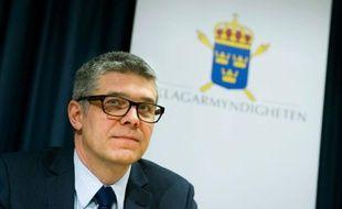 Anders Thornberg, chef des services de sécurité suédois, lors d'une conférence de presse à Stockholm, le 7 décembre 2011