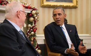 Le président américain Barack Obama et son homologue israélien Reuven Rivlin, à la Maison Blanche, à Washington, le 9 décembre 2015