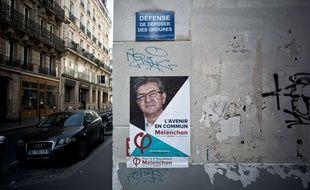 Une affiche de Jean-Luc Mélenchon lors de la campagne électorale lors de l'élection présidentielle.