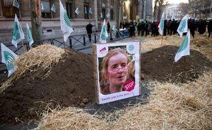 Des agriculteurs ont posé des affiches à l'effigie de la ministre de l'Environnement Nathalie Kosciusko-Morizet chaussée au moyen d'un photo-montage de lunettes rouges rappelant celles d'Eva Joly, candidate d'Europe Ecologie-Les Verts (EELV) à la présidentielle
