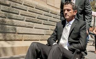 l'ancien rugbyman sud-africain Joost Van der Westhuizen, atteint de la maladie de Charcot, le 1er octobre 2013 à Pretoria.