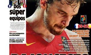 La une du quotidien sportif espagnol Marca après la défaite face à la France en quarts de finale du Mondial de basket, le 11 septembre 2014.