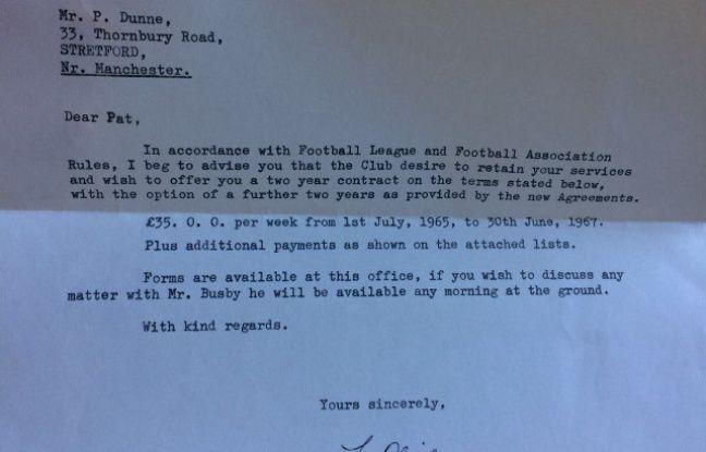 Voilà à quoi ressemblait une offre de prolongation de contrat en 1965