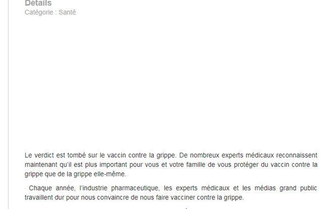 L'introduction de l'article anti-vaccin grippal de Top Santé.
