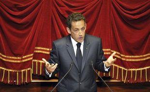 Nicolas Sarkozy à Versailles, avant de s'exprimer devant le Congrès.