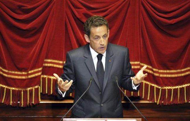 Nicolas Sarkozy lors de son discours devant le Congrès réuni à Versailles le 22 juin 2009.