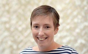 """Caroline De Haas, cofondatrice de """"Féministes pour une Europe Solidaire"""" et initiatrice de la pétition, le 16 avril 2014 à Paris"""