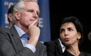 Michel Barnier et Rachida Dati, têtes de liste UMP en Ile-de-France pour les élections européennes, le 27 mai 2009 lors d'une meeting à Levallois-Perret (Hauts-de-Seine).
