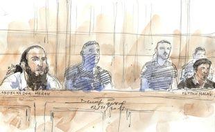 Abdelkader Merah et Fettah Malki dans le box des accusés devant la cour d'assises spécialement composée de Paris, le 2 octobre 2017.