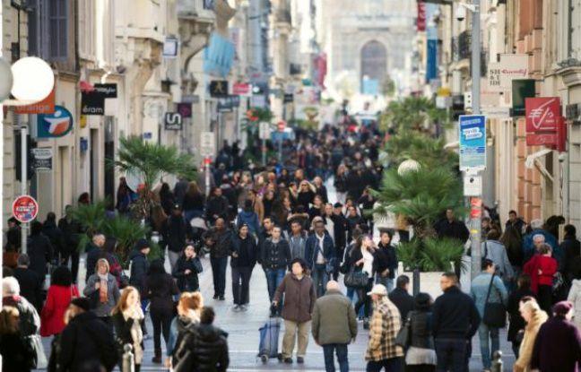 Une rue commerçante à Marseille, le 14 février 2014