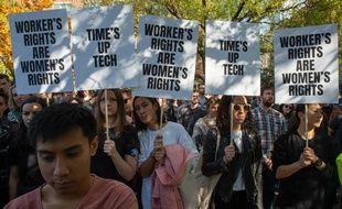 Des employés de Google manifestent contre le harcèlement sexuel, le 1er novembre 2018.