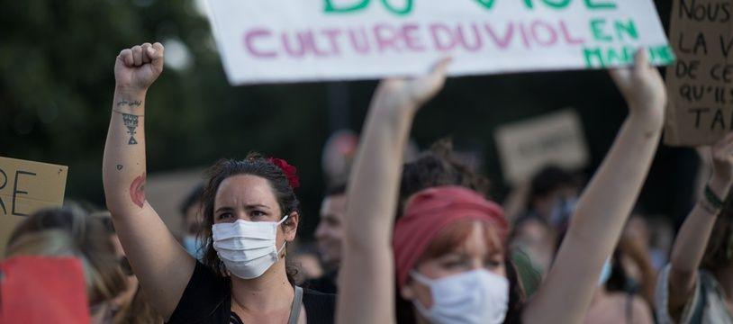 Une manifestation à l'appel de féministes à Nantes pour dénoncer la désignation de Gérald Darmanin au ministère de l'Intérieur