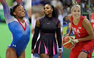 Les athlètes américaines Simone Biles, Serena Williams et Elena Delle Donne.