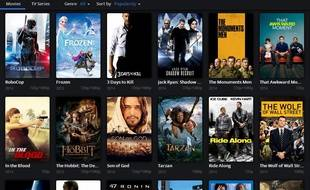 Capture d'écran du logiciel de streaming illégal Popcorn Time.