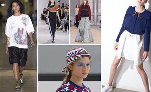De gauche à droite, défilés Koché, Paco Rabanne, Chloé, la casquette à l'envers Chanel, une silhouette Iris Cantabri.