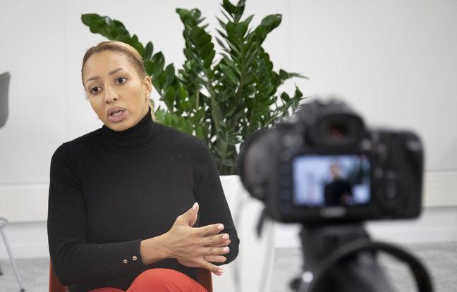 Le 3 décembre 2019, à Paris, interview de la championne olympique et du monde de boxe Estelle Mossely à la Kedge Business School avant une conférence.
