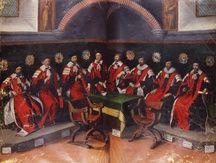 Les capitouls de l'année 1630 siégeant au petit consistoire de l'Hôtel de ville de Toulouse (le rez-de-chaussée du Donjon). Huile sur parchemin par Jean Chalette.