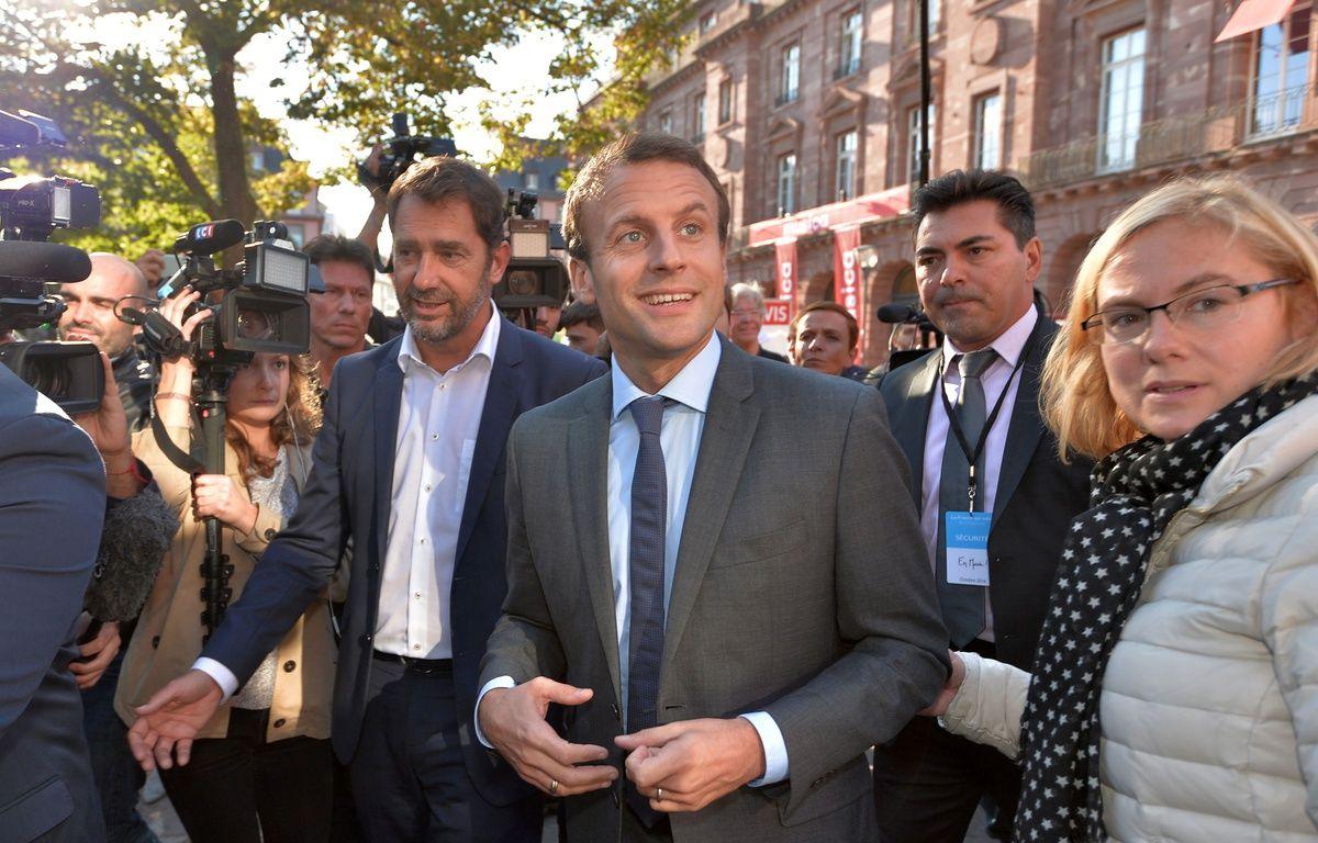 L'ex-ministre Emmanuel Macron lors d'un meeting à Strasbourg, le 4 octobre 2016. – AFP