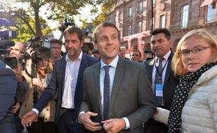 L'ex-ministre Emmanuel Macron lors d'un meeting à Strasbourg, le 4 octobre 2016.