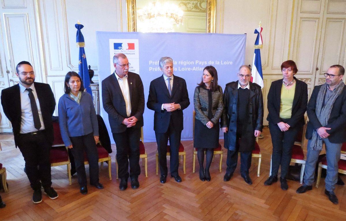 Les responsables religieux nantais réunis à la préfecture lundi 12 janvier 2015. – F. Brenon / 20 MInutes