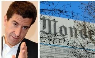Collage SIPA/20 Minutes/Fotor de Matthieu Pigasse, actionnaire du groupe Le Monde, et une illustration du quotidien Le Monde
