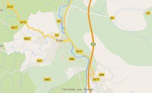 Google Map de la ville de Foix, en Ariège.