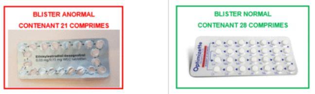 La différence entre la pilule anormale à gauche, et normale à droite.