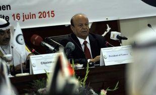 Le président du Yémen Abd Rabbo Mansour Hadi (d) à Jeddah en Arabie Saoudite, le 16 juin 2015