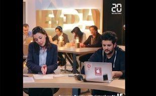 Capture d'écran d'une émission en direct de «LeMédia», où un salarié a malencontreusement révélé les autocollants France Insoumise de son ordinateur.