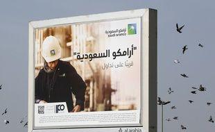 Une publicité d'Aramco à Djeddah en Arabie Saoudite le 14 novembre 2019.