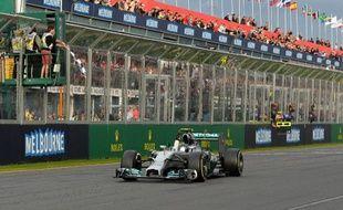 le pilote allemand Nico Rosberg (Mercedes) remporte le Grand Prix d'Australie de Formule 1, le 16 mars 2014, à Melbourne.