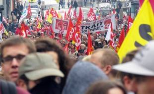 Manifestation contre les ordonnances Macron, ici le 19 octobre 2017 à Rennes.